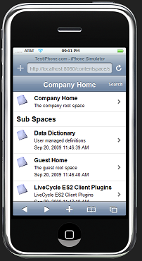 iPhone web app with LiveCycle ContentServices ES2